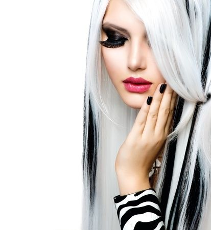 white and black hair model with long eyelashes