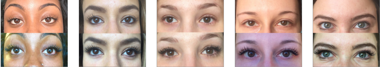 before and after pictures eyelash extensions
