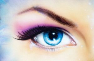 pink eye shadow blue eyes with eyelash extensions